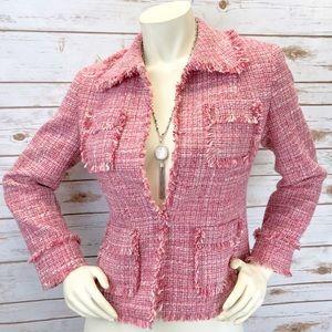 Etcetera Pink Tweed Fringe Blazer Sz 4